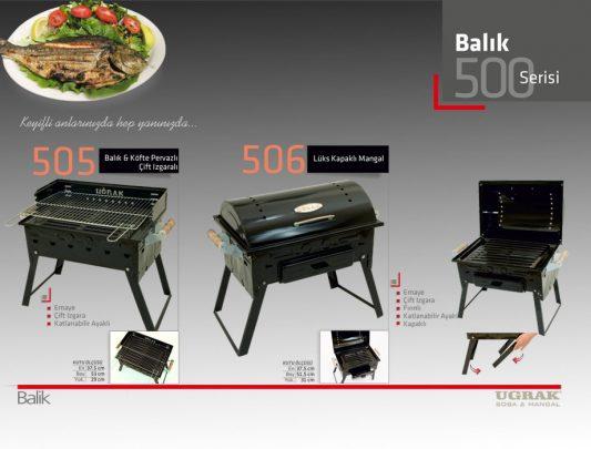Balık ve Köfte Pervazlı  Mangal -Çift Izgara Katlanır Emaye Ürün İçerik-505